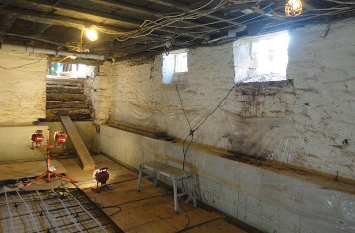 blasting stone basement foundation walls sandblasting contractor
