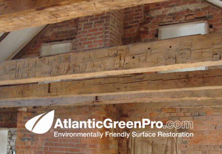 Example Of Old Wood Ceiling Beams Before Restoration This Is An Atlantic Green Pro Stripped Cleaned The Plaster